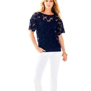 NWT Lilly Pulitzer Royal Palm knit lace Kay top XS